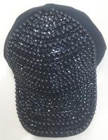 Cotton cheap baseball cap with rhinestone solid black color fashion hat adjustable men/women custom cap
