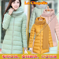 La CHAPELLE medium-long down coat 2013 thickening scarf with a hood medium-long outerwear 10004658