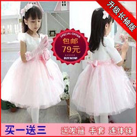 Autumn and winter children's clothing long-sleeve female child one-piece dress flower girl formal dress wedding dress princess