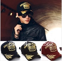 2014 NEW Free shipping tri-color gold embroidered baseball cap unisex sun hat