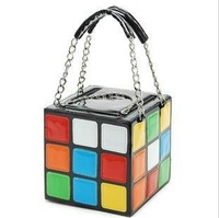 Free Shipping 13 new fashion personality cute cube shape hand  women carry bag handbag clutch bag #1483