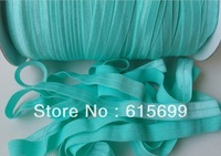 Solid Color FOE Elastic- 23 colors for your choosing-#314 Aqua Fold over elastic Ribbon