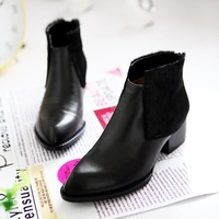 Horsehair boots pointed toe genuine leather boots ankle boots fashion martin boots