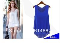 New Arrival Free Shipping Summer Chiffon Shirt Sleeveless Blouses False Two Pieces Chiffon T-shirt SL01