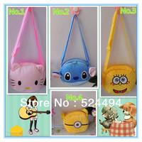 Free Shipping 1pcs Children cartoon messenger bag baby kids cute school plush  coin purse hello kitty/sponge bob/Minions Stewart