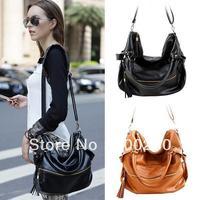Korean Hobo PU Tassel Leather Handbag Cross Body Shoulder Bag Large Capacity Z free shipping 5449