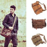 Men's Vintage Canvas Leather School Military Shoulder Bag Messenger Bag free shipping 5450