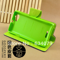 Korean MERCURY Goospery Double Color Leather Flip Case Cover For Sony S36h Xperia L,Free Shipping,With Retail Package