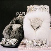 rhinestone crystal mobile phone bag diamond Plush fox leather case for samsung galaxy s3 S III i9300 s4 S IV i9500 case
