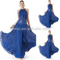 Royal Blue Flowing Chiffon Elegant Party High Neck Evening Dress