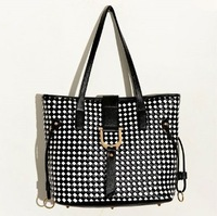 Retro Black & White Check Shoulder Bags Straps Black PU Handbags Metal Decorated Ladies Work Totes YB1004