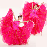 Elegant costume dance clothes expansion skirt long design modern dance women's  free shipping