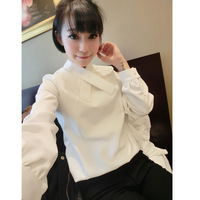 2013 winter pearl buckle cross collar female shirt 100% cotton long-sleeve slim basic shirt