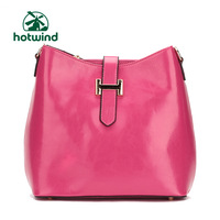 Hotwind new arrival casual hasp dual-use cowhide horseshoe shaped female messenger bag 50h3913