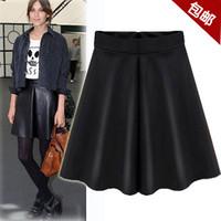 2014 fashion high waist   bust skirt PU small leather skirt pleated skirt puff skirt   C013