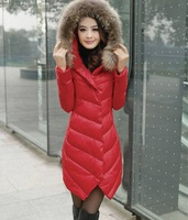 Free shipping  New  Winter 2013 Female Raccoon Collars Girl  Fashionable Women Long Slim Down jacket Down fur Coat