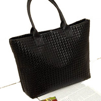Korean Style Woman Black Shoulder Bags Weaved Check Casual Hand Bags Simple PU Leather Hobo YB1006