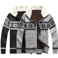 New Fashion Men autumn winter warm Fleece sweater coat knitting patterns Christmas Zipper Jacket Casual Outwear US S M L #MA0070