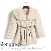 faux fur coat 2014 stripe long design large fur collar fur coat fashion women's coat  Fur coat Women's clothing
