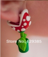 Fashion Gift Earrings POLYMER CLAY stud - Mario Piranha plant Flower Earrings free shipping