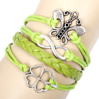 Min.order $10 Mix order 3pcs Fashion Butterfly Clover Lucky infinite infinity bracelet  P010