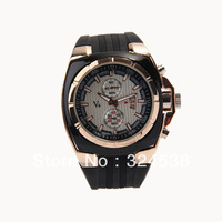 Vogue V6 Strips Hour Marks Round Dial Golden Case watch Quartz Hours Analog Men luxury wristwatches free shipping