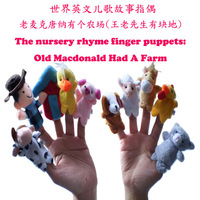 100sets The Nursery Rhyme Finger Puppets Old Macdonald had a farm Plush Finger Puppet Set Toys Free Shipping