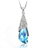 Korean Girls Favorite Popular Austria Crystal Short Necklace Alloy Chains Angle Tears Drop Necklace AC001