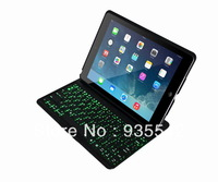 (white) Ultra-thin Aluminum Wireless Bluetooth QWERTY Keyboard w/ Back Light & Stand Case Cover for Apple iPad Air / iPad 5
