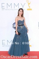 Gorgeous Tulle A Line Beading Sarah Paulson Strapless Emmys Dress 2013 Red Carpet Celebrity Gowns