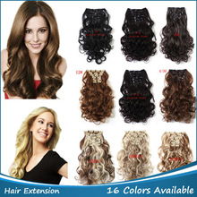 New 7pcs clip in Hair Extension Wavy Synthetic Hair extension Curly Hair Extensions curly hair styling Length:50cm/20inch,999(China (Mainland))