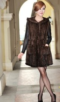 2013 lady  winter Genuine Mink Fur vest  Fashion Cape/Shawl/Poncho /coat  With Hoody hand knitting  In stock EMSFree Shipping