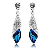 Elegant And Temparenment Crystal Drop Earring Roll Leaf Long Dangle Earring For Women AC003