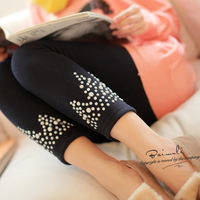 freeshopping 8659 thickening pearl rhinestones plus velvet trousers long legging size