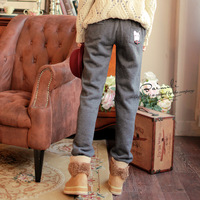 freeshopping 8636 bow pocket casual pants loose health pants sports plus velvet female long trousers