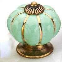 Cartoon Pumpkin Handle Cabinet Cupboard Drawer Ceramic Knob Pulls Green Solid MBS007-2
