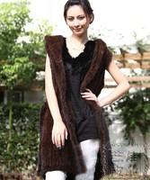 2013 newest  jacket   lady  luxurious genuine mink fur vest  hand-knit fur coat    EMS free shipping