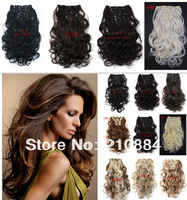 Free Shipping 7pcs clip in Hair Extensions ,Wavy Synthetic Hair Extensions,Curly Hair Extensions 20pcs/lot