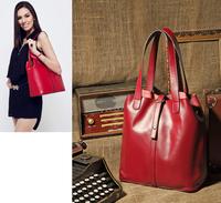 Real Genuine leather Shoulder bags Multifunctional female  bolsa  bucket  womenLeather Handbag+Brand Handbags Designer totes