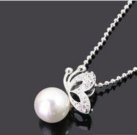free shipping Free Shipping Special Drill with Butterfly Pearl Necklace,Cheap Fashion Jewelry Online N92