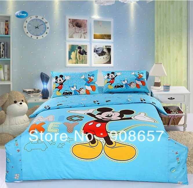 New Blue Mickey Mouse Printed Twin Full Queen Cotton Home Textile Childrens Boys Quilt Duvet Covers 4-5Pc Bed Linen Bedding Set(China (Mainland))