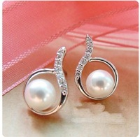 free shippingArc Water Droplets Imitation Diamond Stud Earrings Elegant pearl Free Shipping (White) E547