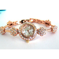 98 2014 new  free shipping Brand casual Rhinestone Crystal Women Girls Shiying flower bracelet watch watches wholesale LW121