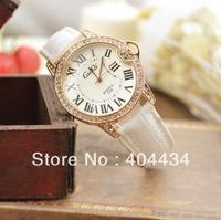 women fashion casual watch 2013 quartz leather strap watch crystal decoration wristwatch 800pcs/lot
