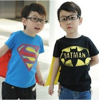 5pcs/lot 2013 New Fashionsummer wear baby t-shirts superman batman short sleeve cotton t-shirt for boys  ww202