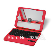 Red (More) Ultra-thin Leather Case w/ Kickstand & Detachable Wireless Bluetooth Keyboard for Apple iPad 2 with Retina Display