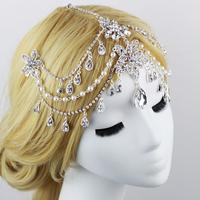 WEDDING BRIDAL HIJAB SCARF HEADPIECE TIKKA PIN BROOCH JHUMAR HEAD HAIR BAND