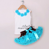 Girl Blouse T Shirt Tutu Skirt 2pcs Clothing Set Baby Girls Sleeveless t-shirts Lace Skirt Clothes Sets Kids Dancing Costumes