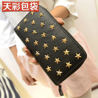 Free shipping 2013 women's handbag wallet long design wallet vintage rivet women's wallet
