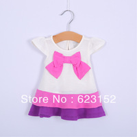 Wholesale 6m/3y 4pcs Infant's Dress 100% Cotton One-piece Orange/Purple Bow Dress Baby Summer Clothes Child Kids Wear